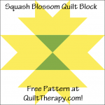 "Squash Blossom Quilt Block Free Pattern for a 12"" quilt block at QuiltTherapy.com!"