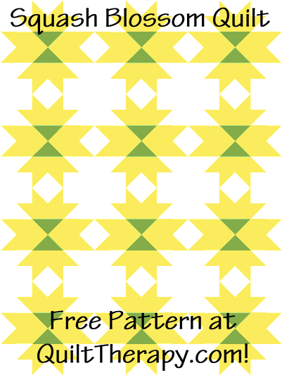 """Squash Blossom Quilt Free Pattern for a 36"""" x 48"""" quilt at QuiltTherapy.com!"""