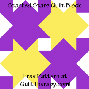 """Stacked Stars Quilt Block Free Pattern for a 12"""" quilt block at QuiltTherapy.com!"""