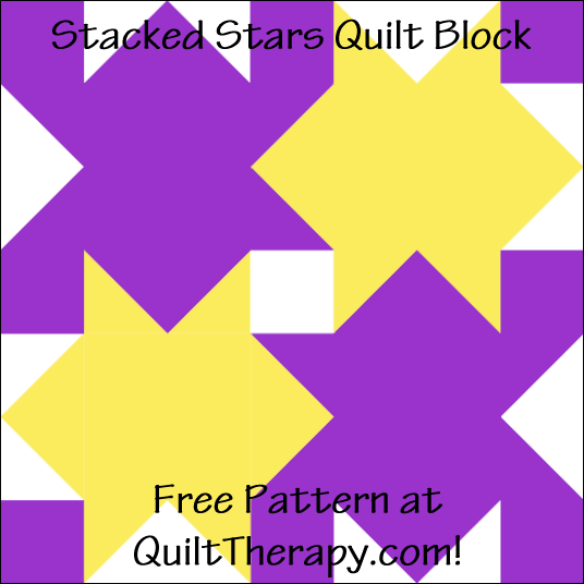 "Stacked Stars Quilt Block Free Pattern for a 12"" quilt block at QuiltTherapy.com!"