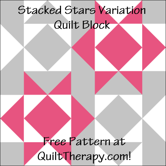 "Stacked Stars Variation Quilt Block Free Pattern for a 12"" quilt block at QuiltTherapy.com!"