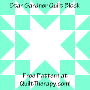 """Star Gardner Quilt Block Free Pattern for a 12"""" quilt block at QuiltTherapy.com!"""
