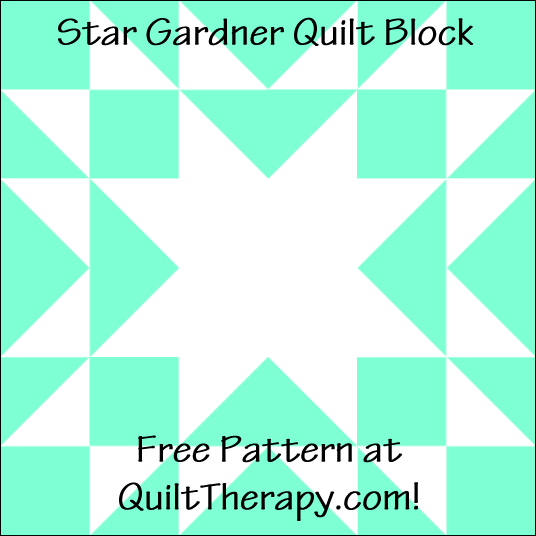 "Star Gardner Quilt Block Free Pattern for a 12"" quilt block at QuiltTherapy.com!"