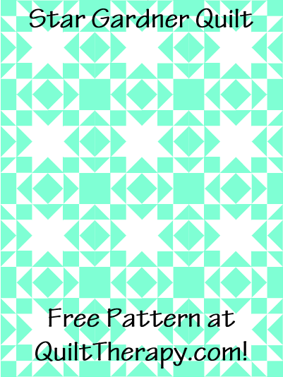 "Star Gardner Quilt Block Free Pattern for a 36"" x 48"" quilt at QuiltTherapy.com!"
