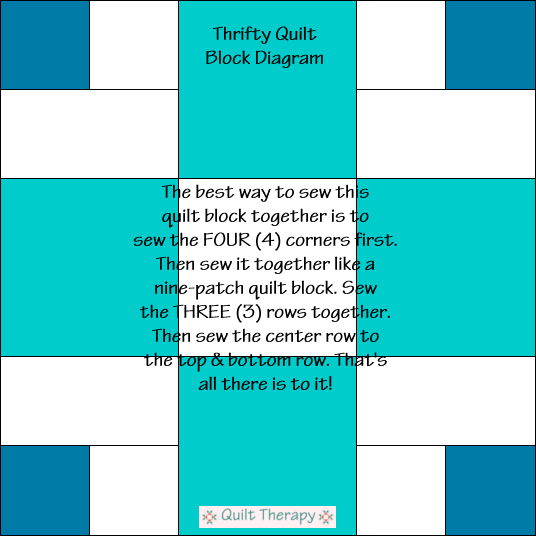 "Thrifty Quilt Block Diagram Free Pattern for 12"" finished quilt block at QuiltTherapy.com!"