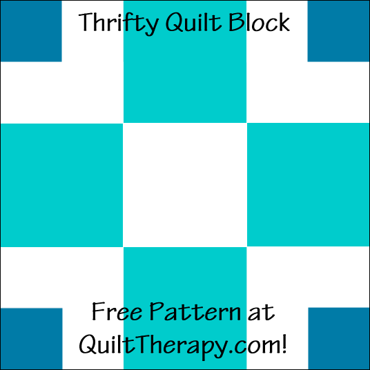 "Thrifty Quilt Block Free Pattern for a 12"" quilt block at QuiltTherapy.com!"