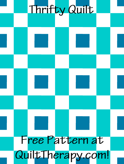 "Thrifty Quilt Block Free Pattern for a 36"" x 48"" quilt at QuiltTherapy.com!"