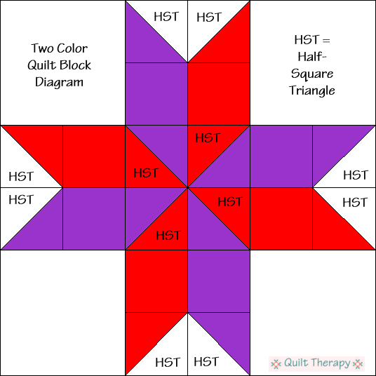"Two Colors Quilt Block Diagram Free Pattern for 12"" finished quilt block at QuiltTherapy.com!"