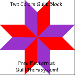 """Two Colors Quilt Block Free Pattern for a 12"""" quilt block at QuiltTherapy.com!"""