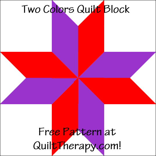 "Two Colors Quilt Block Free Pattern for a 12"" quilt block at QuiltTherapy.com!"