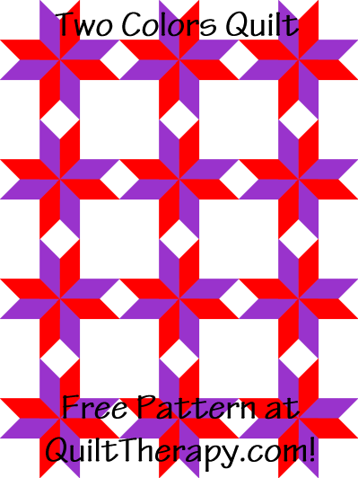 "Two Colors Quilt Block Free Pattern for a 36"" x 48"" quilt at QuiltTherapy.com!"