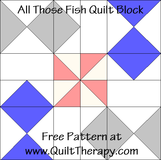 All Those Fish Quilt Block Free Pattern at QuiltTherapy.com!