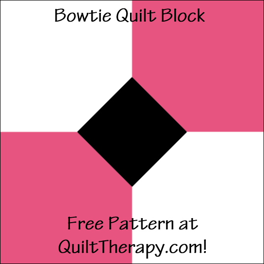 "Bowtie Quilt Block Free Pattern for a 12"" quilt block at QuiltTherapy.com!"
