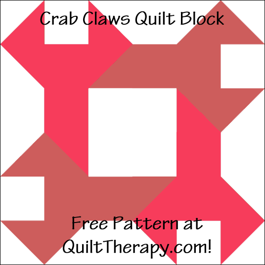 "Crab Claws Quilt Block Free Pattern for a 12"" quilt block at QuiltTherapy.com!"