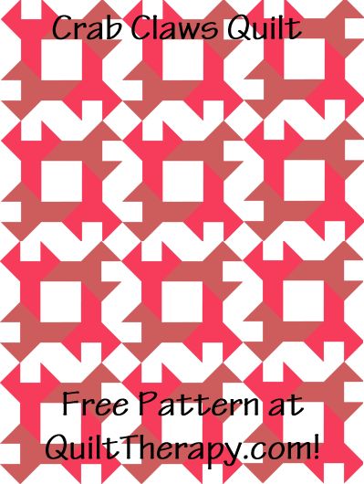 "Crab Claws Quilt Free Pattern for a 36"" x 48"" quilt at QuiltTherapy.com!"