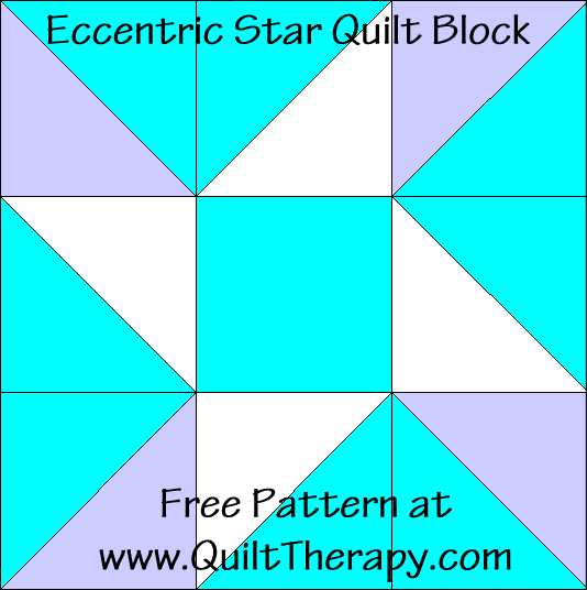 Eccentric Star Quilt Block Free Pattern at QuiltTherapy.com