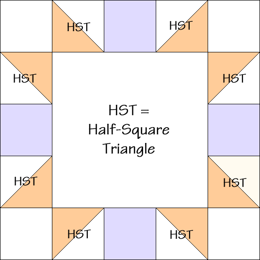 Five Patch Variation Quilt Block Diagram Free Pattern at QuiltTherapy.com!