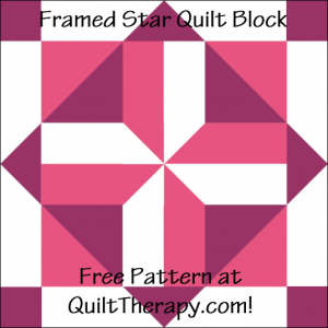 """Framed Star Quilt Block Free Pattern for a 12"""" quilt block at QuiltTherapy.com!"""