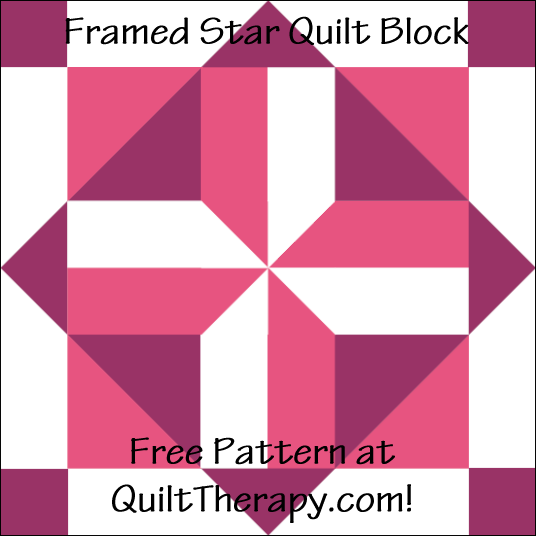 "Framed Star Quilt Block Free Pattern for a 12"" quilt block at QuiltTherapy.com!"