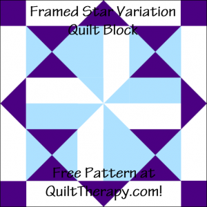 """Framed Star Variation Quilt Block Free Pattern for a 12"""" quilt block at QuiltTherapy.com!"""
