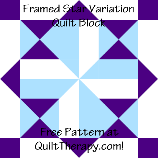 "Framed Star Variation Quilt Block Free Pattern for a 12"" quilt block at QuiltTherapy.com!"