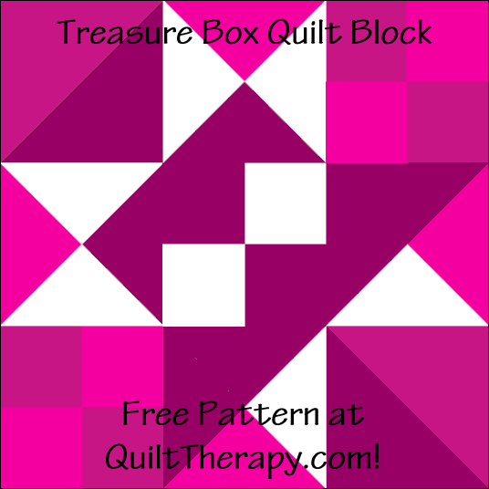 "Treasure Box Quilt Block Free Pattern for a 12"" quilt block at QuiltTherapy.com!"