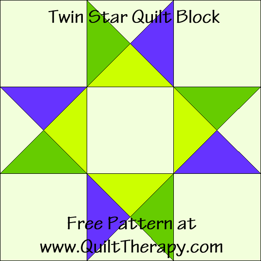 Twin Star Quilt Block Free Pattern at QuiltTherapy.com!