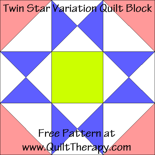 Twin Star Variation Quilt Block Free Pattern at QuiltTherapy.com!