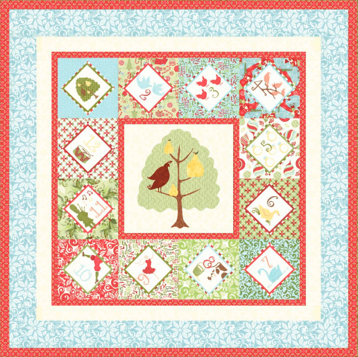 """12 Days of Christmas"" Free Quilt Pattern designed by Kate Spain from Moda brought to you by www.QuiltTherapy.com"