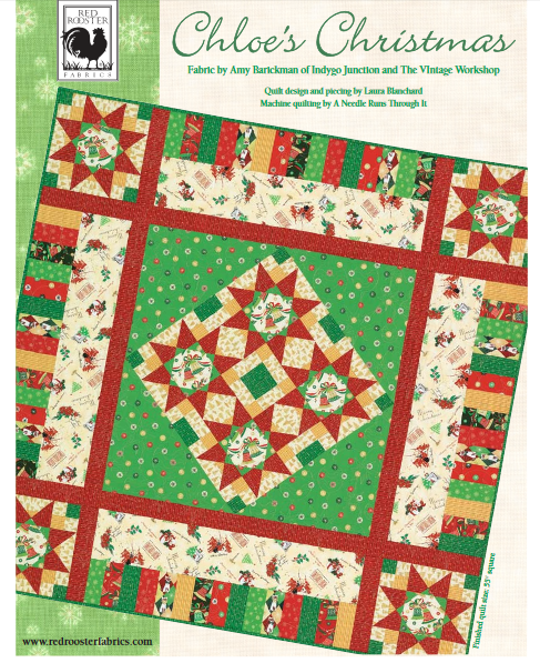 """Chloe's Christmas"" Free Quilt Pattern designed by Laura Blanchard from Red Rooster Fabrics brought to you by www.QuiltTherapy.com"
