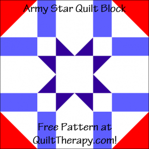 """Army Star Quilt Block Free Pattern for a 12"""" quilt block at QuiltTherapy.com!"""