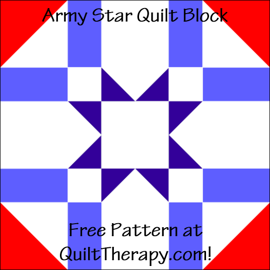 "Army Star Quilt Block Free Pattern for a 12"" quilt block at QuiltTherapy.com!"