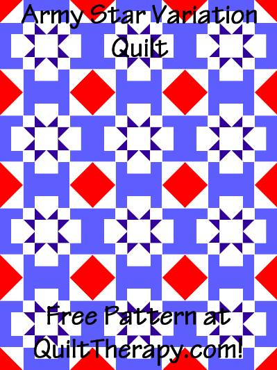 "Army Star Variation Quilt Free Pattern for a 36"" x 48"" quilt at QuiltTherapy.com!"