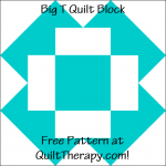 """Big T Quilt Block Free Pattern for a 12"""" quilt block at QuiltTherapy.com!"""