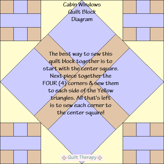 "Cabin Windows Quilt Block Diagram Free Pattern for 12"" finished quilt block at QuiltTherapy.com!"