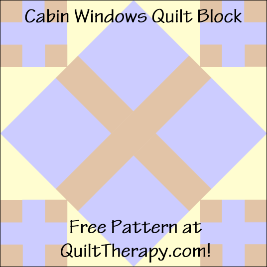 "Cabin Windows Quilt Block Free Pattern for a 12"" quilt block at QuiltTherapy.com!"