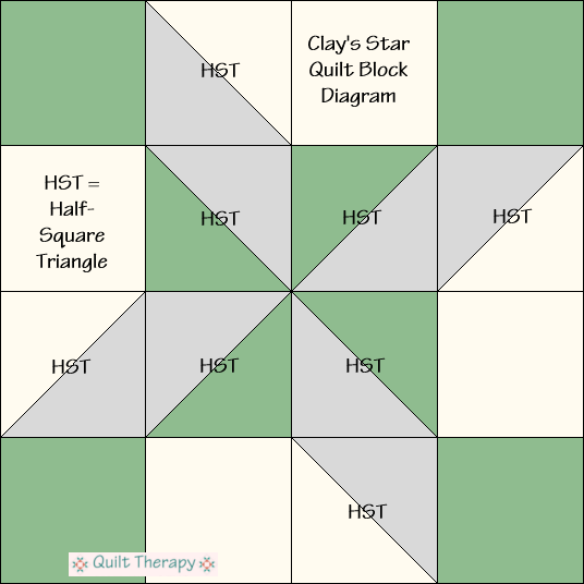 """Clay's Star Quilt Block Diagram Free Pattern for 12"""" finished quilt block at QuiltTherapy.com!"""