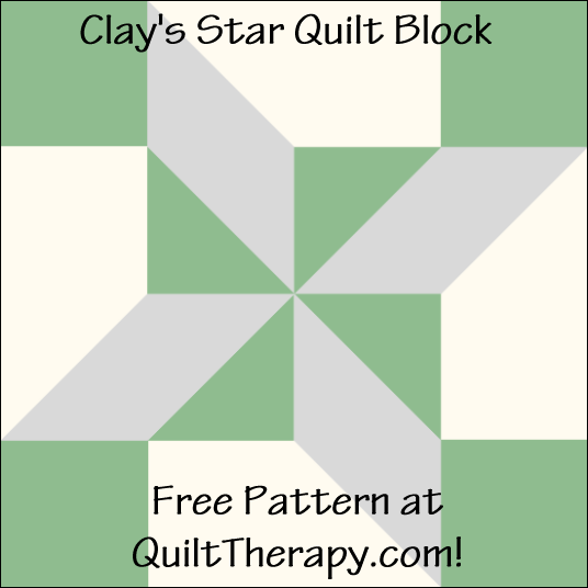 """Clay's Star Quilt Block Free Pattern for a 12"""" quilt block at QuiltTherapy.com!"""