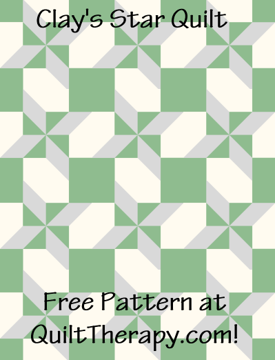 """Clay's Star Quilt Free Pattern for a 36"""" x 48"""" quilt at QuiltTherapy.com!"""