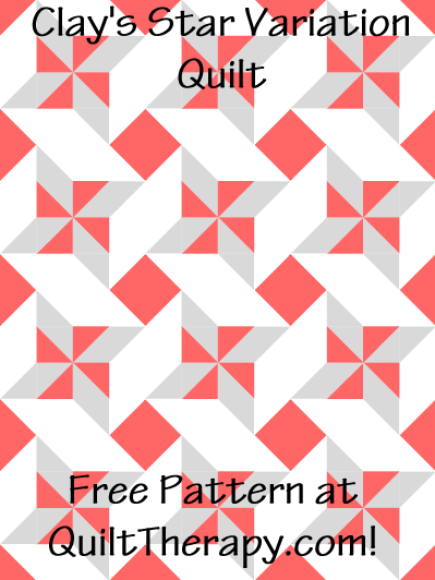 """Clay's Star Variation Quilt Free Pattern for a 36"""" x 48"""" quilt at QuiltTherapy.com!"""
