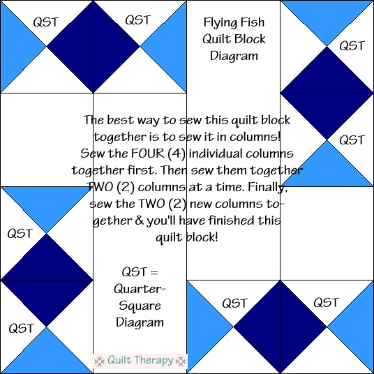 "Flying Fish Quilt Block Diagram Free Pattern for 12"" finished quilt block at QuiltTherapy.com!"