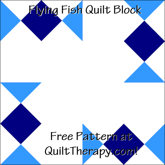 "Flying Fish Quilt Block Free Pattern for a 12"" quilt block at QuiltTherapy.com!"