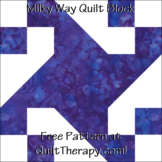 """Milky Way Quilt Block Free Pattern for a 12"""" quilt block at QuiltTherapy.com!"""
