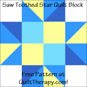 """Saw Toothed Star Quilt Block Free Pattern for a 12"""" quilt block at QuiltTherapy.com!"""