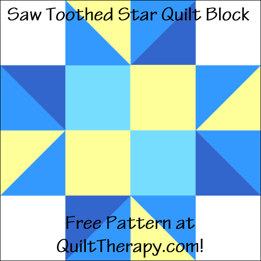 "Saw Toothed Star Quilt Block Free Pattern for a 12"" quilt block at QuiltTherapy.com!"