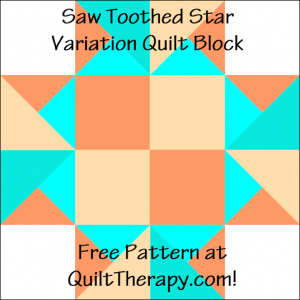 """Saw Toothed Star Variation Quilt Block Free Pattern for a 12"""" quilt block at QuiltTherapy.com!"""