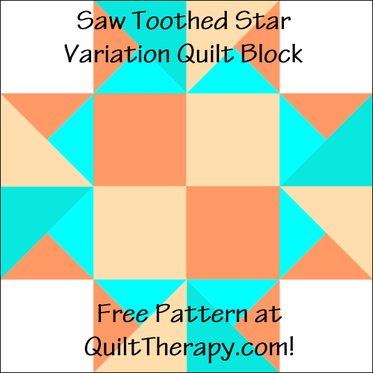 "Saw Toothed Star Variation Quilt Block Free Pattern for a 12"" quilt block at QuiltTherapy.com!"