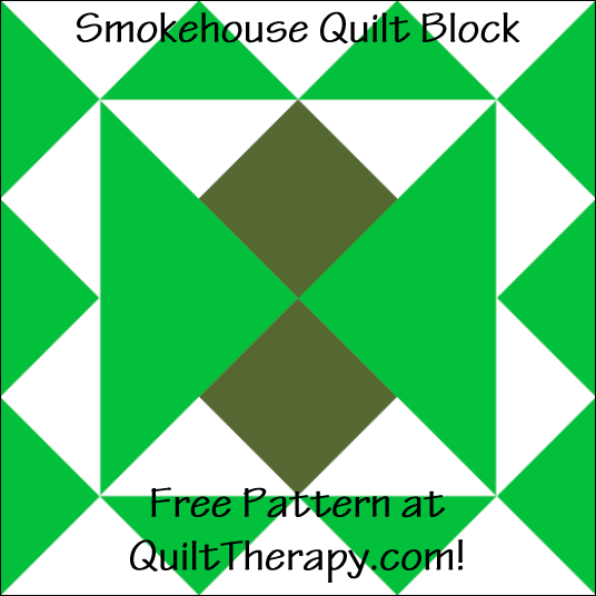"Smokehouse Quilt Block Free Pattern for a 12"" quilt block at QuiltTherapy.com!"