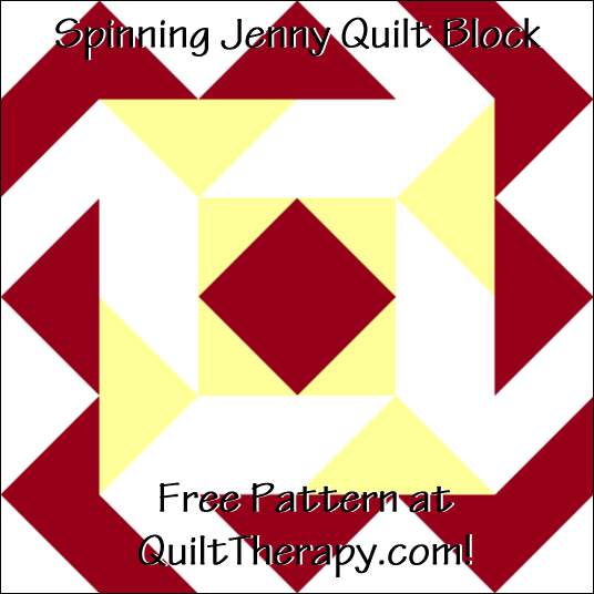 "Spinning Jenny Quilt Block Free Pattern for a 12"" quilt block at QuiltTherapy.com!"