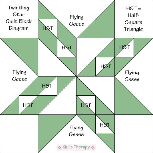 """Twinkling Star Quilt Block Diagram Free Pattern for 12"""" finished quilt block at QuiltTherapy.com!"""